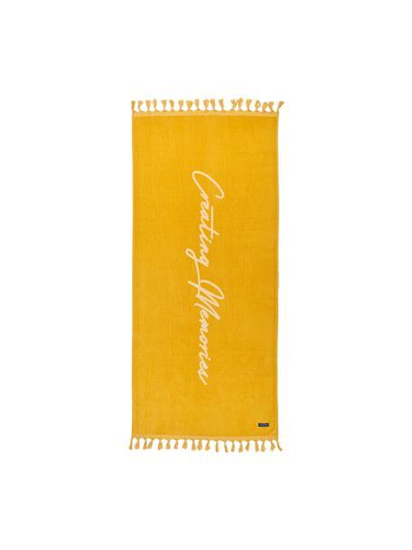 Telo mare con scritta Creating Memories, 100% cotone, certificato GOTS Qualità media, 450 g/m², Giallo, Larg. 80 x Lung. 180 cm