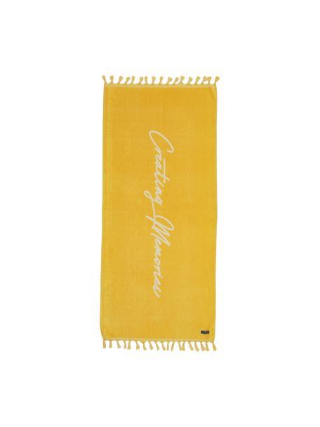 Toalla de playa Creating Memories, 100%algodón, certificado GOTS Gramaje medio 450g/m², Amarillo, An 80 x L 180 cm