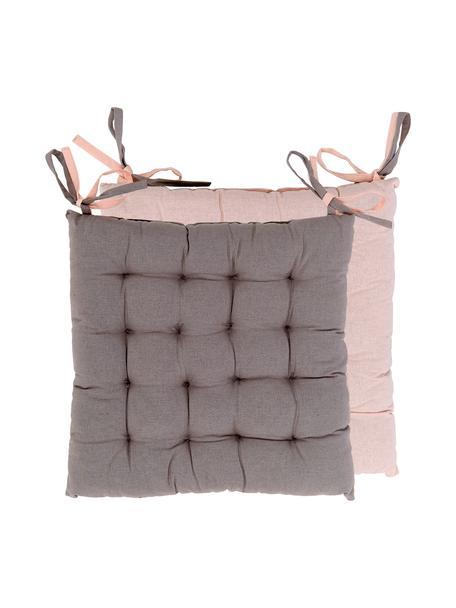 Dwustronna poduszka na siedzisko Duo, 2 szt., Pudroworóżowy, szary, S 40 x D 40 cm