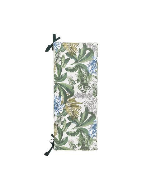Bankauflage Bliss mit tropischem Print, wasserabweisend, Bezug: 50% Baumwolle, 45% Polyes, Creme, Grün- und Blautöne, 48 x 120 cm