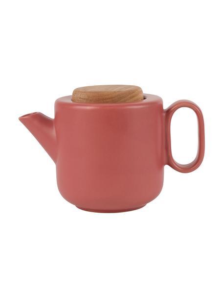 Czajnik z sitkiem do herbaty i pokrywką Baltika, Kamionka, drewno bambusowe, stal nierdzewna, Koralowy, 1 l