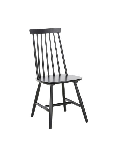 Holzstühle Milas, 2 Stück, Kautschuckholz, lackiert, Schwarz, B 52 x T 45 cm