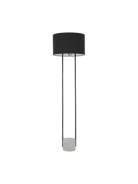 Lámpara de pie Pipero, Pantalla: tela, Estructura: metal con pintura en polv, Cable: cubierto en tela, Negro, gris, Ø 45 x Al 161 cm