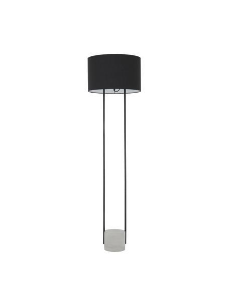 Lampada da terra con base in cemento Pipero, Paralume: tessuto, Base della lampada: metallo verniciato a polv, Paralume: nero Base della lampada: nero opaco, grigio Cavo: nero, Ø 45 x Alt. 161 cm