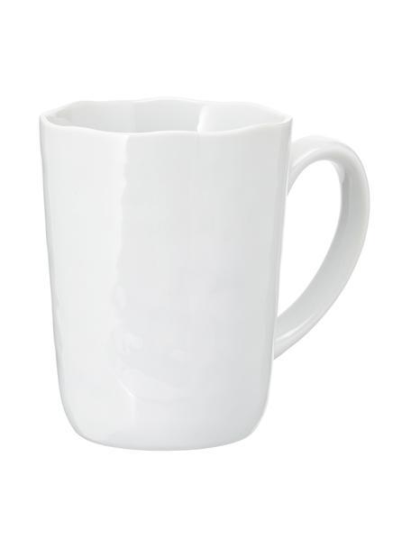 Koffiekopjes Porcelino met oneven oppervlak, 6 stuks, Porselein, opzettelijk ongelijk, Wit, Ø 8 x H 11 cm
