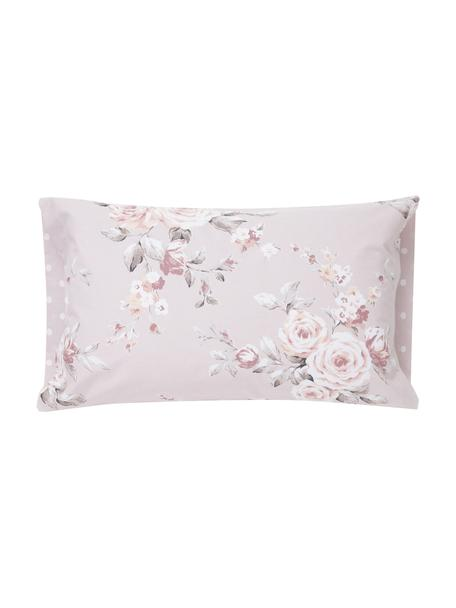 Funda de almohada Canterbury, Algodón, Tonos rosas, gris, blanco, An 50 x L 110 cm