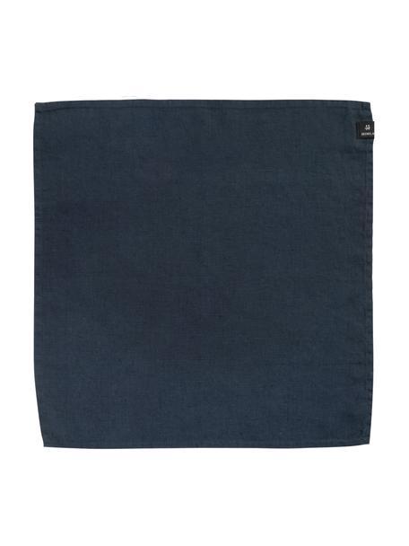 Leinen-Servietten Sunshine in Dunkelblau, 4 Stück, Leinen, Stahlblau, 45 x 45 cm