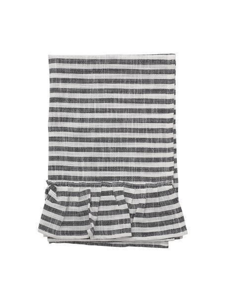 Strofinaccio in cotone a righe con balze Egina, Cotone, Nero, bianco latte, Larg. 45 x Lung. 70 cm