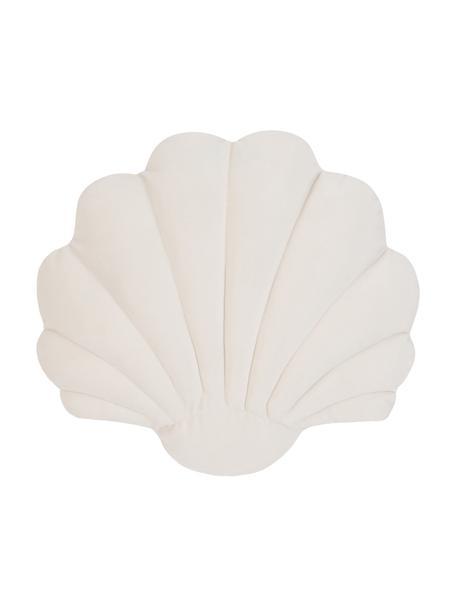 Samt-Kissen Shell in Muschelform, Vorderseite: 100% Polyestersamt, Rückseite: 100% Baumwolle, Cremeweiss, 28 x 30 cm