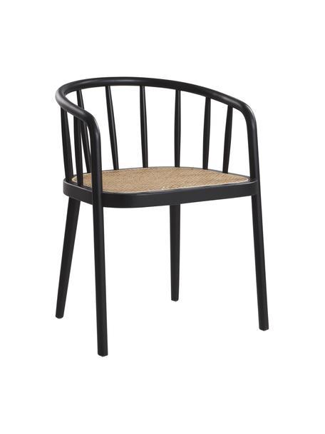 Holzstuhl Stocksund mit Wiener Geflecht, Rahmen: Birkenholz, lackiert, Sitzfläche: Rattan, Schwarz, Beige, B 56 x T 54 cm