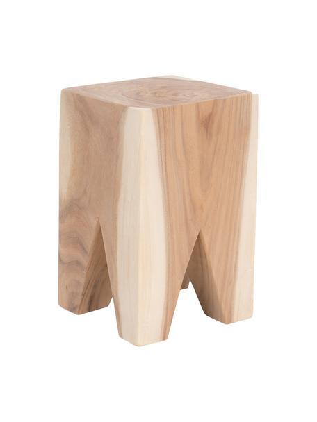 Taburete / Mesa auxiliar artesanal Malmo, Estructura: madera de Trambesi maciza, Marrón, An 25 x Al 40 cm