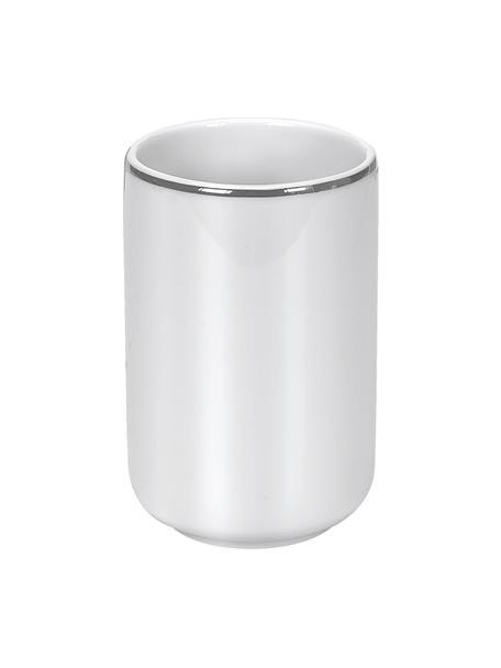 Porta spazzolini in porcellana Noblesse, Porcellana, Bianco, Ø 8 x Alt. 12 cm