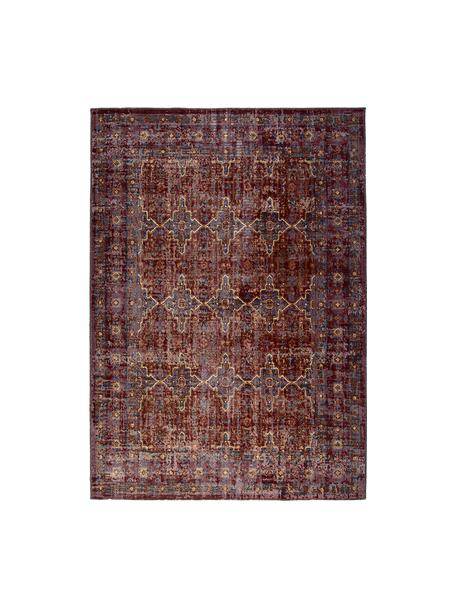 Tappeto vintage da interno-esterno Tilas Izmir, Rosso scuro, giallo senape, kaki, Larg.160 x Lung. 230 cm (taglia M)