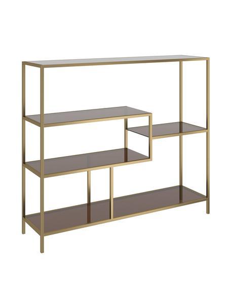 Metalen wandrek Loft in messingkleurig, Frame: gepoedercoat metaal, Plank: veiligheidsglas, geverfd, Messingkleurig, 115 x 100 cm