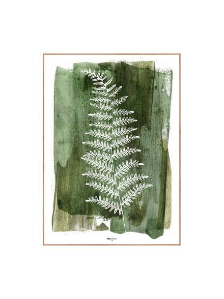 Stampa digitale incorniciata White Fern, Immagine: stampa digitale su carta , Cornice: Pannello di fibra ad alta, Verde, bianco, Larg. 30 x Alt. 40 cm