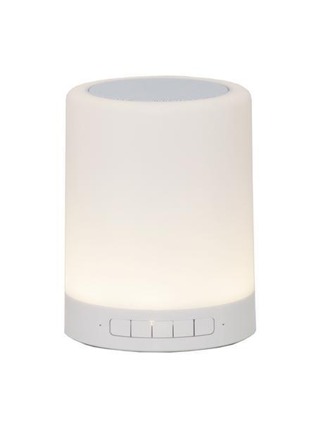 Lámpara para exterior con altavoz y regulable con luces de colores Nadia, portátil, Pantalla: plástico, Estructura: metal pintado, Blanco, Ø 9 x Al 13 cm