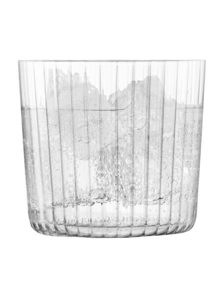 Mundgeblasene Wassergläser Gio mit Rillenstruktur, 4er-Set, Glas, Transparent, Ø 8 x H 7 cm