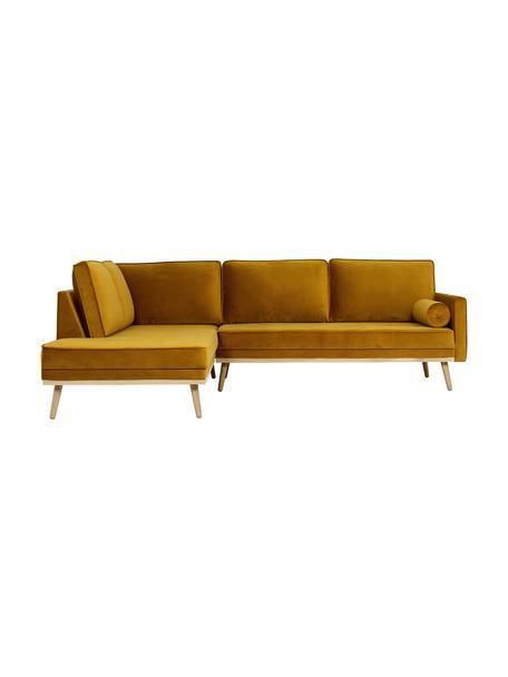 Fluwelen hoekbank Saint (3-zits), Bekleding: fluweel (polyester), Frame: massief eikenhout, spaanp, Fluweel mosterdgeel, B 243 x D 220 cm