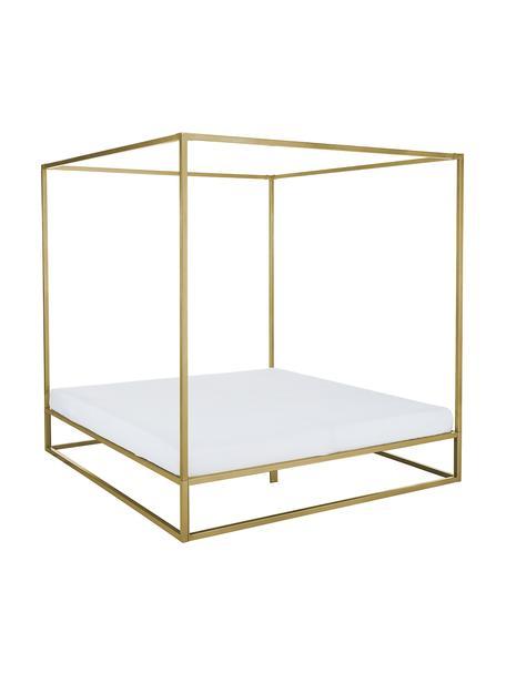 Łóżko z baldachimem z metalu Belle, Metal mosiądzowany, Odcienie złotego, matowy, S 160 x D 200 cm