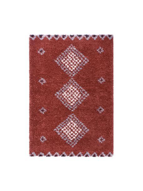 Hochflor-Teppich Cassia mit Ethnomuster, 100% Polypropylen, Rostbraun, Grau, Cremefarben, Schwarz, B 120 x L 170 cm (Größe S)