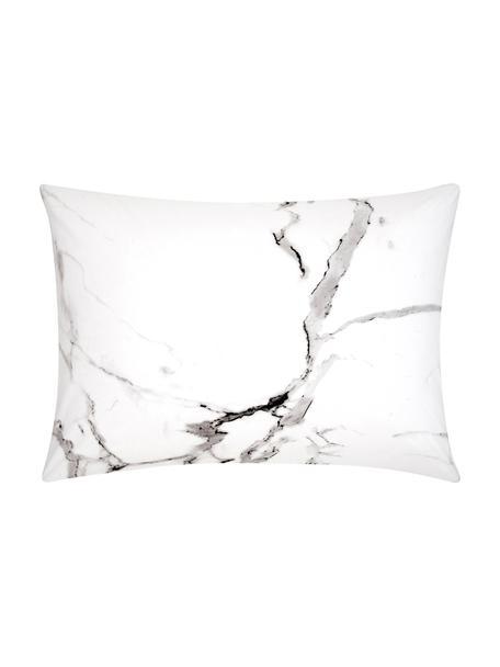 Funda de almohada de percal Malin, caras distintas, Gris, mármol gris, An 50 x L 70 cm