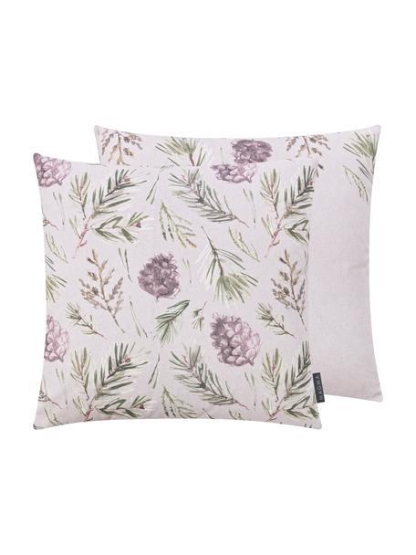 Kissenhülle Tanne mit winterlichen Motiven, Baumwolle, Grau- und Grüntöne, 50 x 50 cm