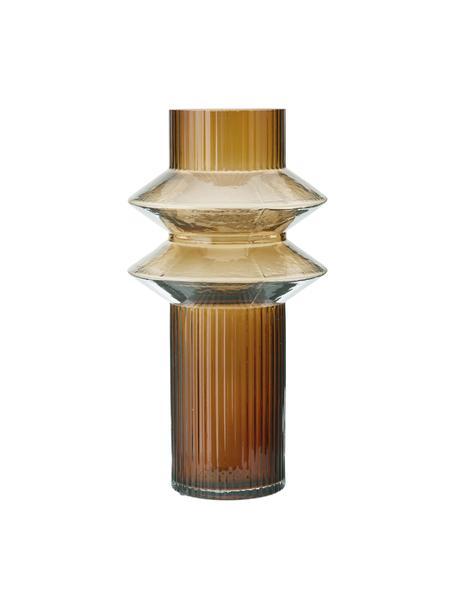 Transparante glazen vaas Rilla met een amberkleurige glans, Glas, Amberkleurig, Ø 9 x H 32 cm