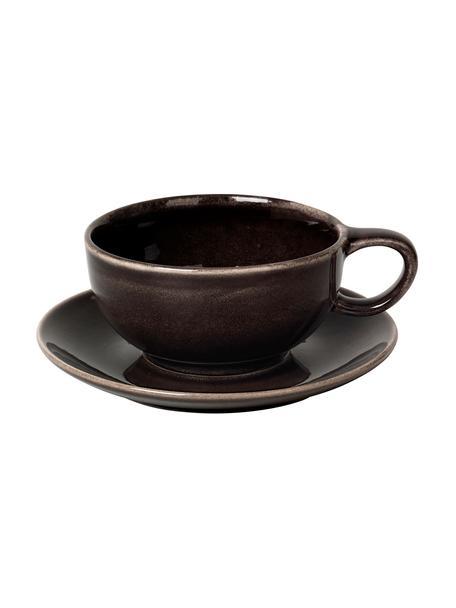 Handgemachte Tasse mit Untertasse Nordic Coal aus Steingut, Steingut, Bräunlich, Ø 11 x H 5 cm