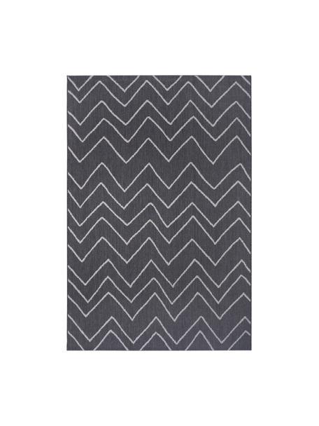 In- & outdoor vloerkleed Waves met zigzagpatroon, 100% polypropyleen, Donkergrijs, grijs, B 80 x L 150 cm (maat XS)