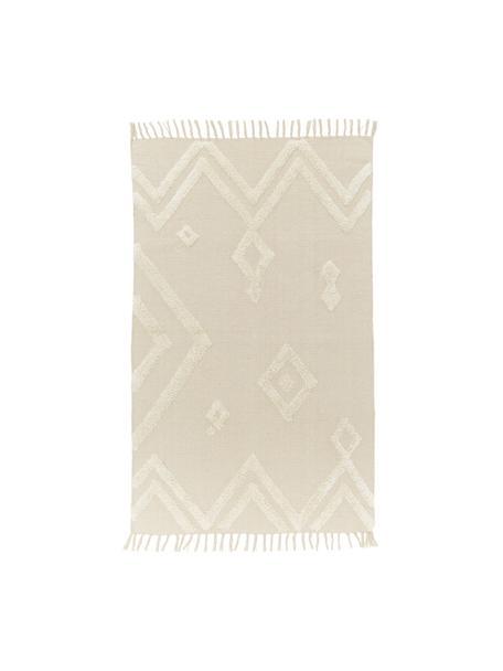 Teppich Canvas mit getufteter Verzierung, 100% Baumwolle, Gebrochenes Weiss, B 150 x L 200 cm (Grösse S)
