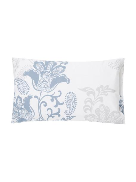 Fundas de almohada Camille, 2uds., Algodón, Blanco, azul, gris, An 50 x L 80 cm