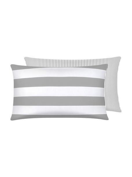 Funda de almohada de algodón Lorena, caras distintas, Gris claro, crema, An 50 x L 70 cm