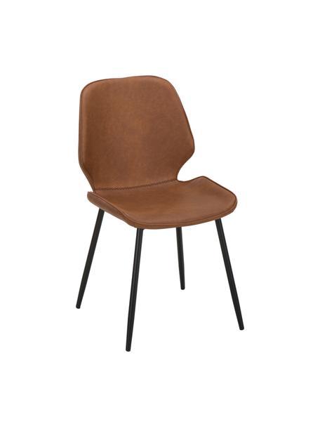 Imitatieleren gestoffeerde stoelen Louis, 2 stuks, Bekleding: kunstleer (65% polyethyle, Poten: gepoedercoat metaal, Cognackleurig, B 44  x D 57 cm