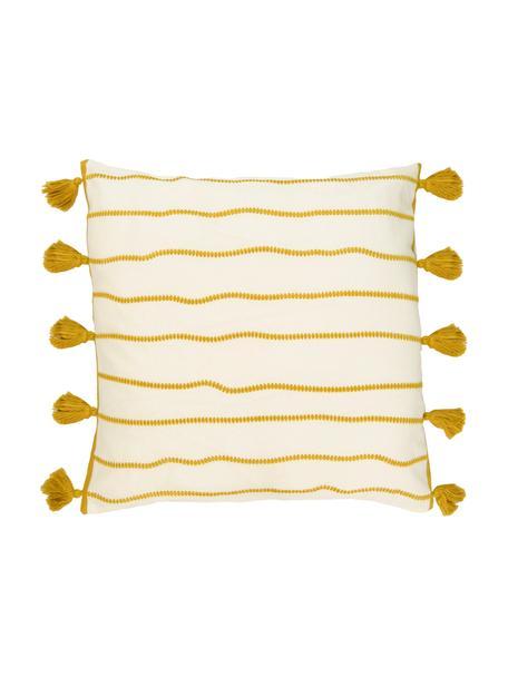 Kussenhoes Blanket met kwastjes, 100% katoen, Geel, wit, 50 x 50 cm