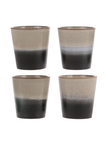 Handgemaakte XS bekers 70's in retro stijl, 4 stuks, Keramiek, Zwart, wit, Ø 8 x H 8 cm