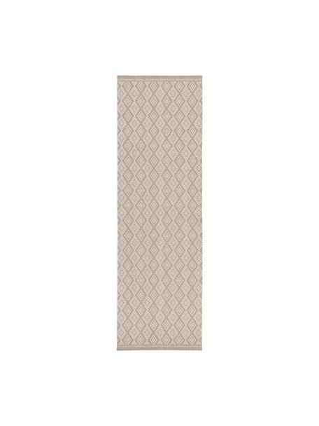 Alfombra de interior/exterior Capri, Parte superior: polipropileno, Reverso: poliéster, Blanco, beige, An 80 x L 250 cm