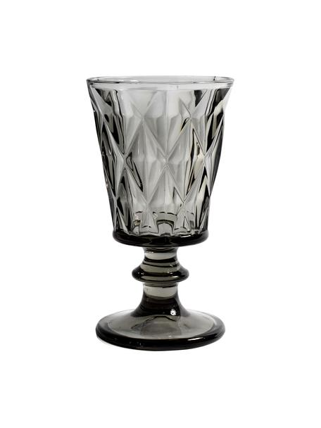 Bicchiere vino vintage con rilievo Diane 6 pz, Vetro, Grigio scuro leggermente trasparente, Ø 9 x Alt. 16 cm