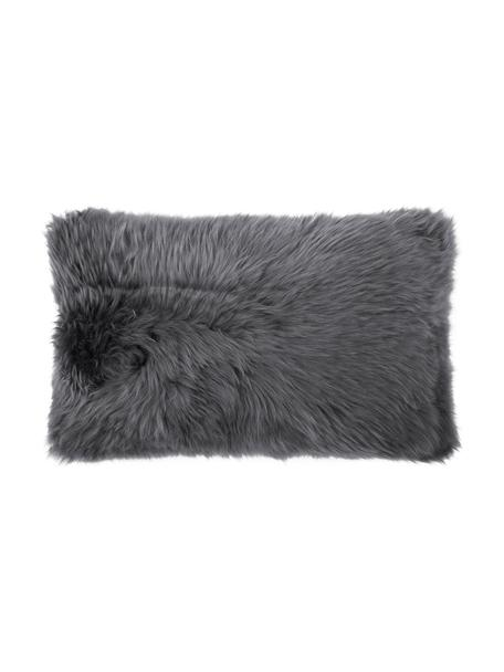 Federa arredo in pelliccia di pecora grigio scuro Oslo, Retro: lino, Fronte: grigio scuro retro: grigio scuro, Larg. 30 x Lung. 50 cm