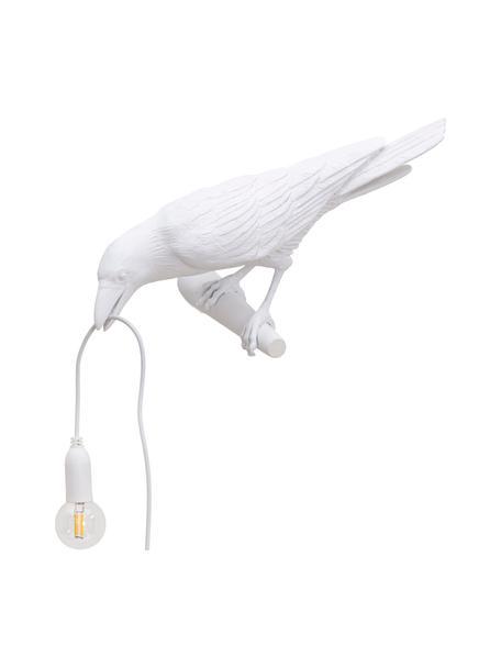 Aplique de diseño Bird, con enchufe, Lámpara: resina, Fijación: resina, Cable: plástico, Blanco, An 33 x Al 13 cm