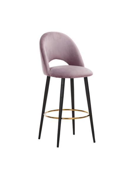 Sedia da bar in velluto color malva Rachel, Rivestimento: velluto (poliestere) 50.0, Gambe: metallo verniciato a polv, Velluto malva, Larg