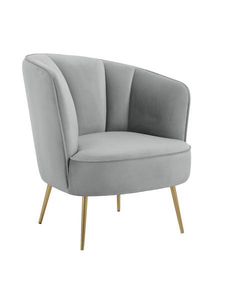 Fluwelen fauteuil Louise, Bekleding: fluweel (polyester), Poten: gecoat metaal, Bekleding: lichtgrijs. Poten: glanzend geborsteld goudkleurig, B 76 x D 74 cm
