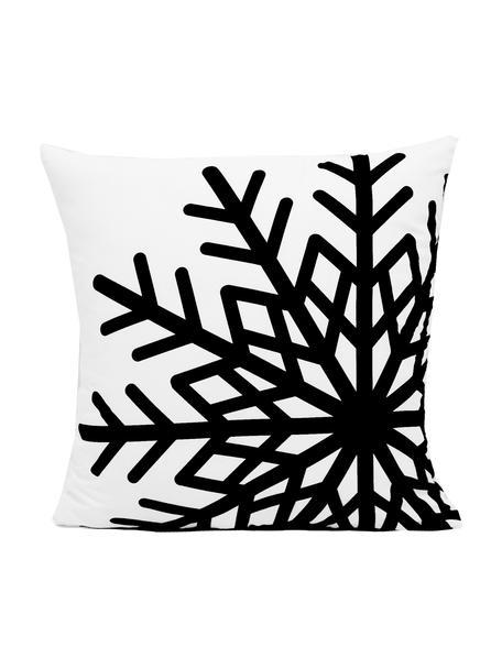 Federa arredo con fiocco di neve Snowflake, Poliestere, Nero, bianco, Larg. 45 x Lung. 45 cm