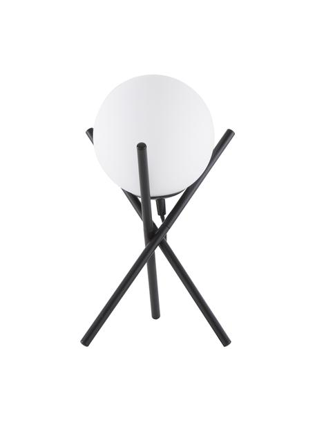 Mała lampa stołowa ze szklanym kloszem Erik, Biały, czarny, Ø 15 x W 33 cm