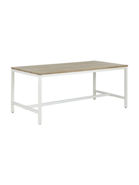 Eettafel Raw met massief houten blad, Zitvlak: massief mangohout, gebors, Frame: gepoedercoat metaal, Tafelblad: mangohoutkleurig met inkepingen. Frame: mat wit, B 180 x D 90 cm