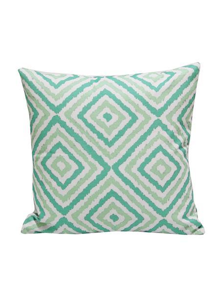 Kissenhülle Henry mit grafischem Muster, 100% Baumwolle, Weiß, Grün, 45 x 45 cm