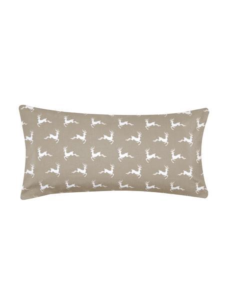 Flanell-Kissenbezüge Rudolph mit Rentieren, 2 Stück, Webart: Flanell Flanell ist ein s, Beige, Weiss, 40 x 80 cm