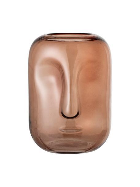 Glazen vaas Face, Glas, Bruin, transparant, Ø 18 x H 25 cm