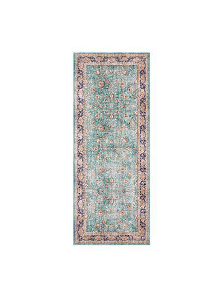 Vintage loper Keshan Maschad, Polysulfonen (PES), Jadegroen, multicolour, 80 x 200 cm