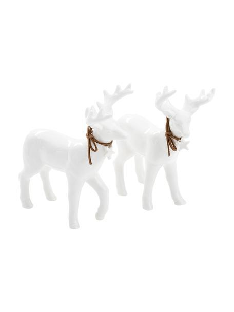 Komplet jeleni dekoracyjnych Ben, 2 elem., 100% porcelana, Biały, S 13 x W 15 cm