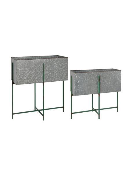 Übertopf-Set Squares mit Gestell, 2-tlg., Metall, beschichtet, Grau, Grün, Set mit verschiedenen Größen